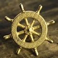 Boat Captains Wheel Pull Gold Steel